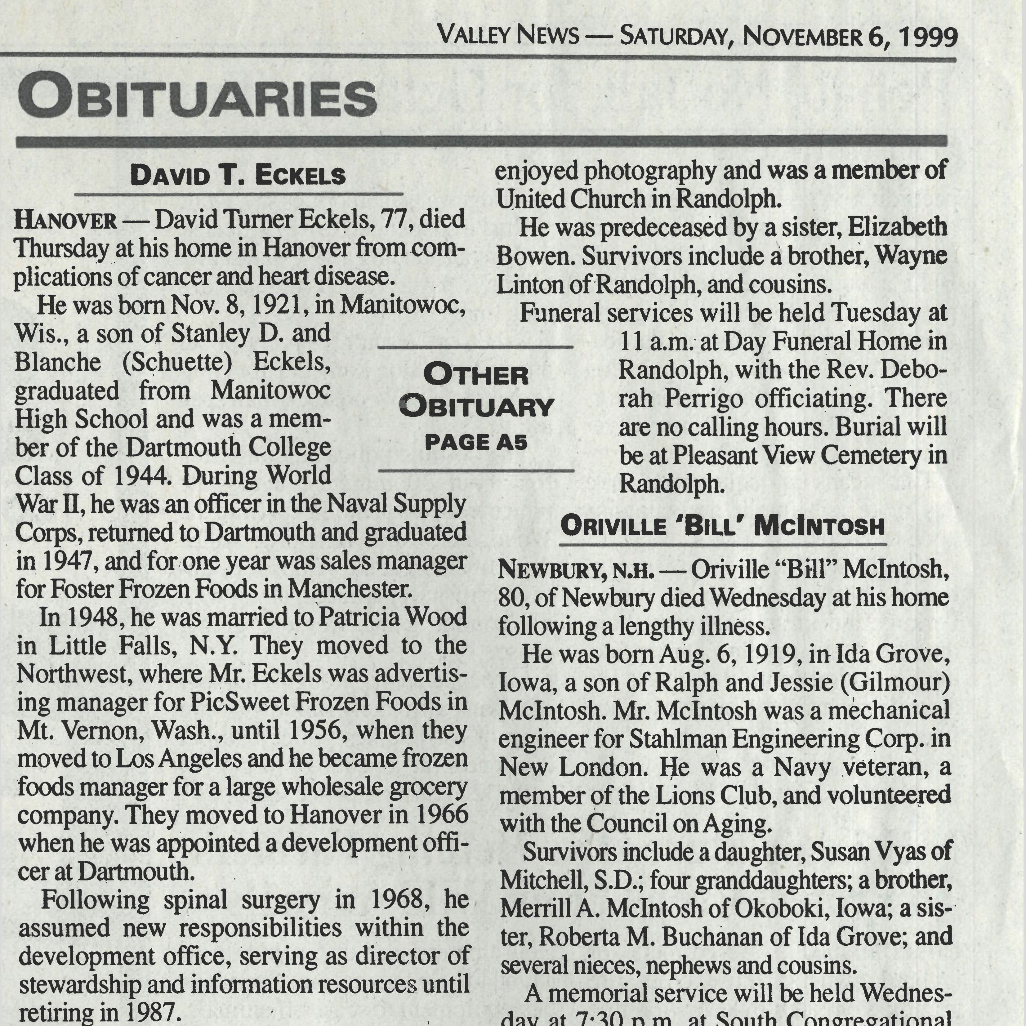 An obituary for Dave Eckels published in the Valley News.