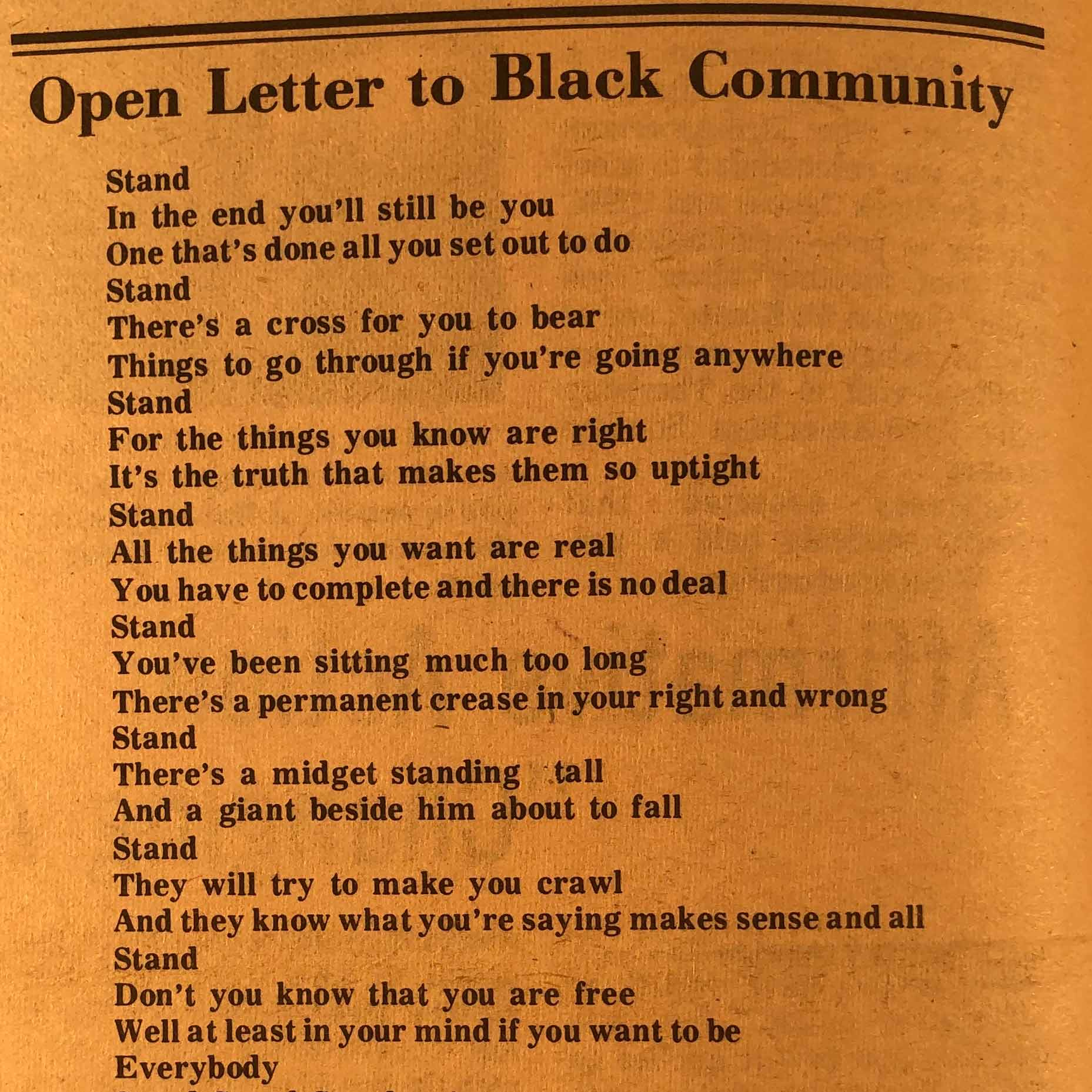 """This poem in the Afro-American Society publication Black Praxis calls for members of Dartmouth's Black community to stand in solidarity with one another and for what is morally right in the fight for equality. The poem's co-authors Eileen Cave, Monica Hargrove, and Judi Redding also collaborated on the July 1975 publication """"Institutional Racism and Student Life at Dartmouth,"""" known colloquially amongst Dartmouth administrators as the """"Redding Report."""""""