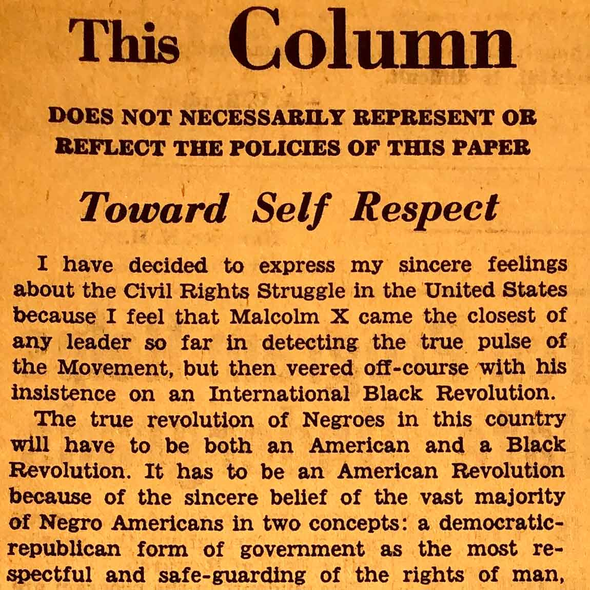 """Richard Joseph '65 posits that the """"true revolution"""" of Black Americans must be an American revolution and a Black revolution. He asserts that the first step of this true revolution is for Black Americans to be """"self-respecting"""" and proud of their heritage. The second step of this revolution is for American society to foster participation from all its members regardless of race."""