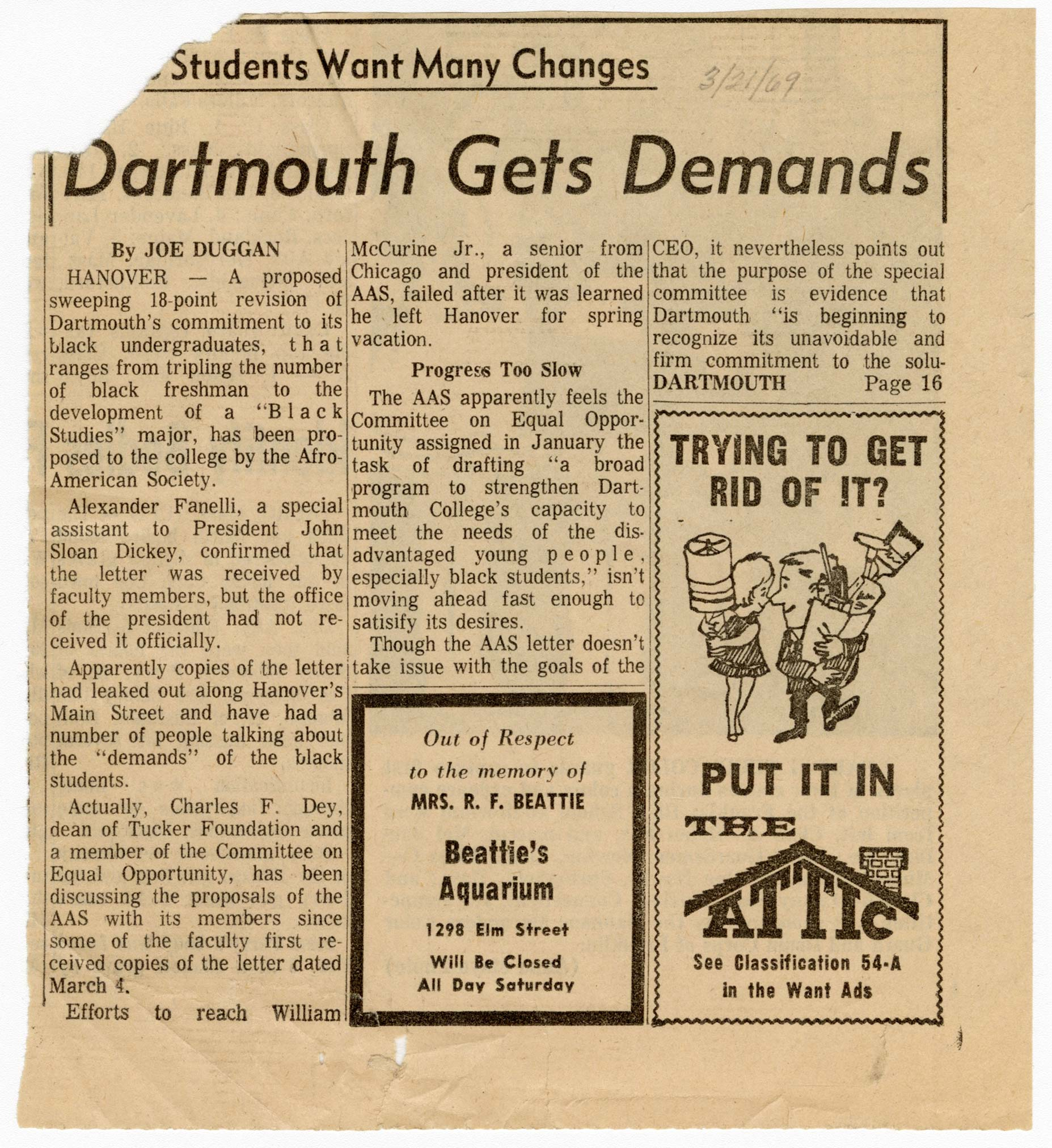 "This newspaper article was published following the presentation of demands by Dartmouth's Afro-American Society (AAS) to the College administration. As author Joe Duggan reports, the 18-point resolution was submitted to College officials primarily to address Dartmouth's recruitment and admissions policies, including demands for a firm commitment to increasing the percentage of Black students in incoming freshmen classes and Black representation in admissions and guidance departments. In addition to recruitment and advising, the article articulates the students' other goals, such as a new building to house the Dartmouth Afro-American Society and ""the development and implementation of a black studies major by September of 1970."""