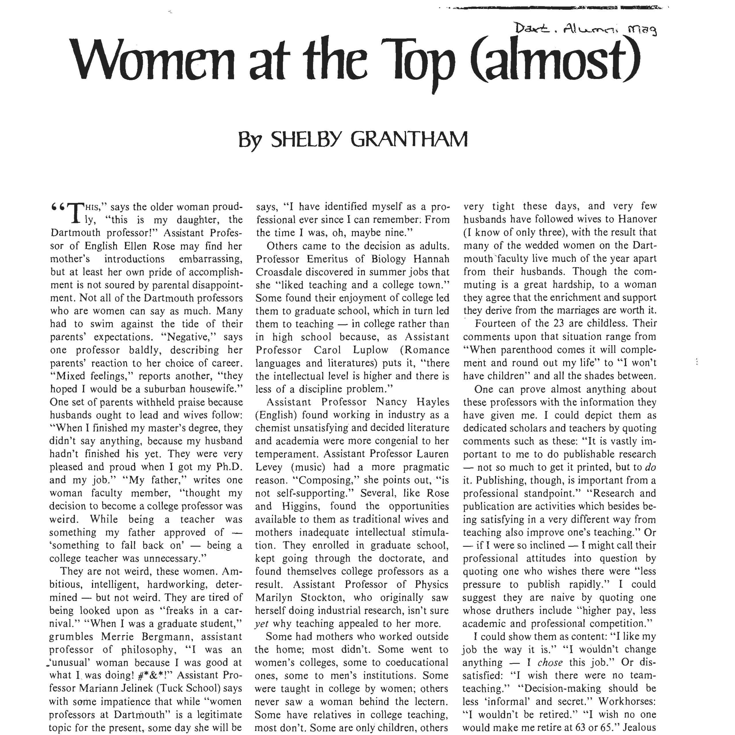 """An article by Shelby Grantham in the May 1977 issue of the Dartmouth Alumni Magazine, which hoped to highlight the state of affairs for women at the College and to be a brutally honest and self-aware piece written by and for Dartmouth. Grantham exchanged letters with many key players in the Biology Department in search of information about Croasdale's treatment in the Department, especially when she was younger. In a very lengthy response to Grantham's questions, Bill Ballard shared dozens of anecdotes about his former colleague, and said fondly of Hannah's teaching: """"Spectacular. Dynamic. Devoted."""""""