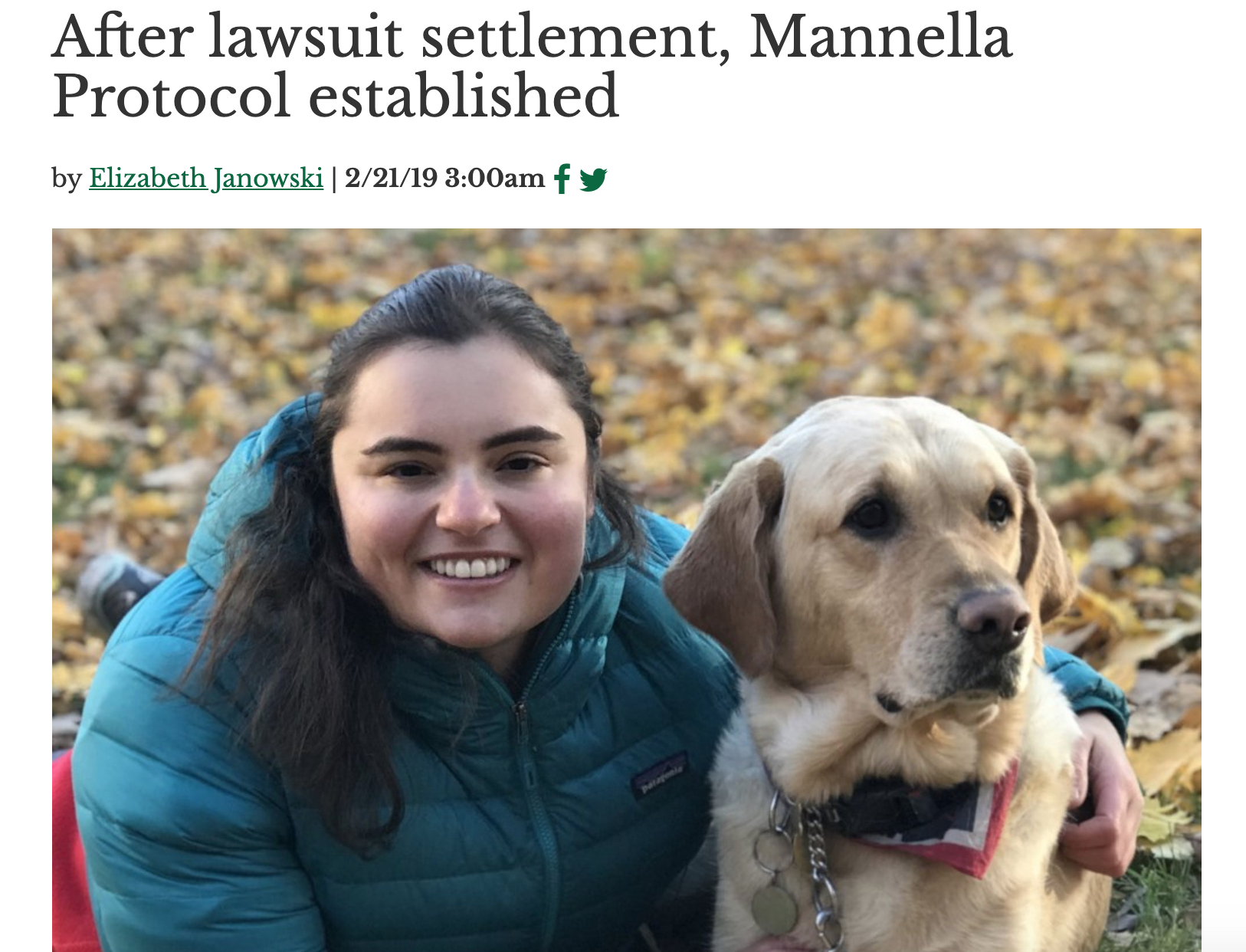 An article from The Dartmouth on the settlement of a lawsuit and resulting establishment of the Manella Protocol.