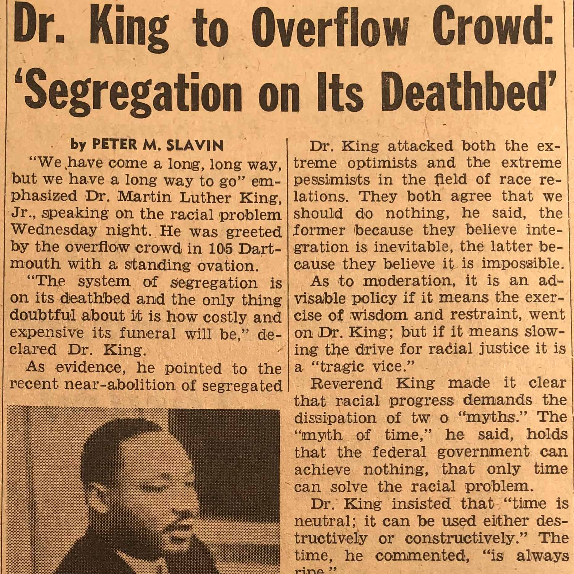 "This article summarizes the main points articulated by Dr. Martin Luther King, Jr. in ""Towards Freedom,"" his Great Issues course lecture. Dr. King stressed the huge disparities in employment and voting rights that still need(ed) to be surmounted by Black Americans despite recent successes in racial equality. He called for wisdom and restraint among Civil Rights activists and underscored the importance of dismantling the myth that only time and education can bring about positive change in racial relations. Lastly, Dr. King urged President John F. Kennedy to issue an executive order declaring all segregation unconstitutional."