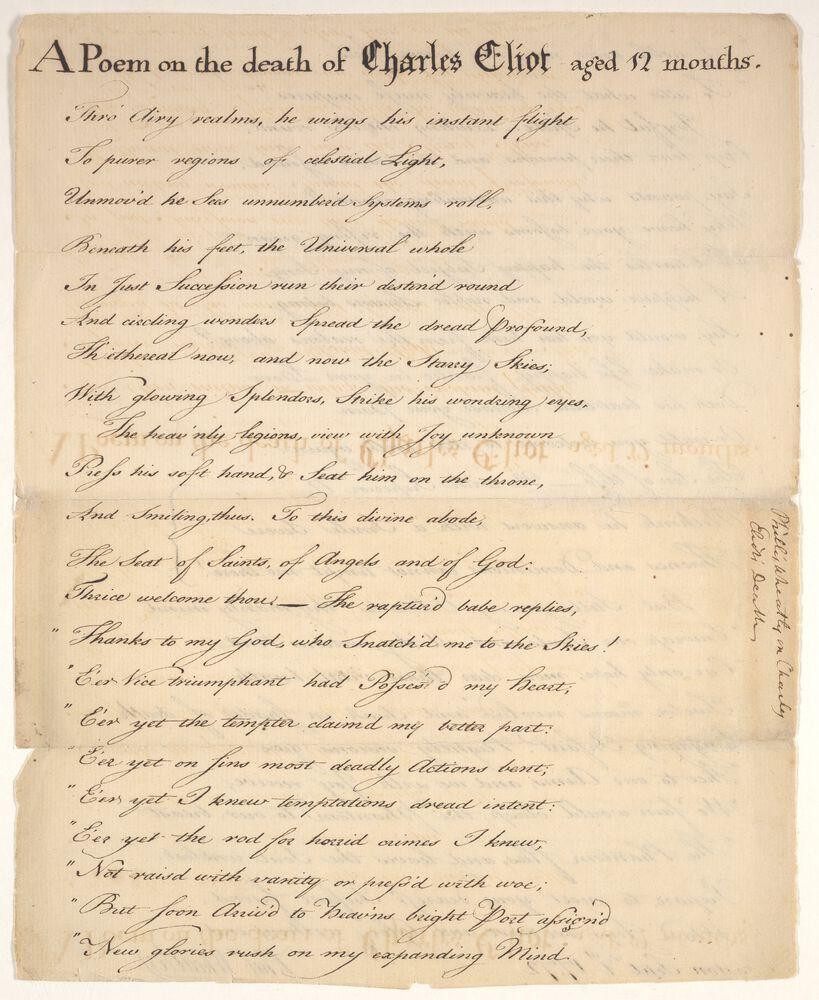 Autograph manuscript copy from Phillis Wheatley