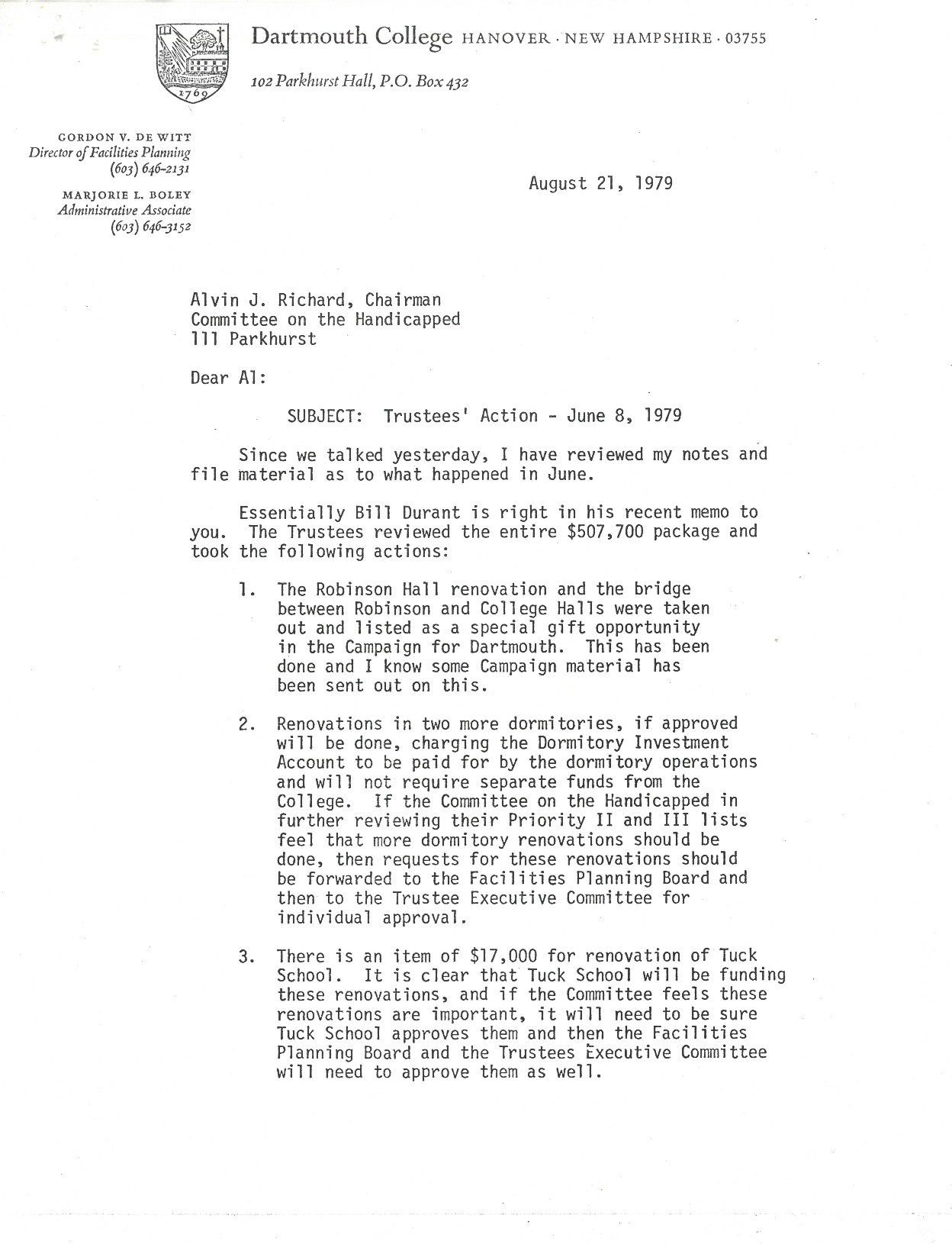 """An internal memo sent on the same day that the Trustees voted on the Priority II and III budget, in which the Committee is informed that the remaining items on the Priority II and III budgets (e.g. beyond Tuck School, dormitories, and Robinson Hall) will require individual approval from both the Facilities Planning Board and the Trustees Executive Committee. In order to avoid committing the College to funding accessibility renovations unless absolutely necessary, the memo states that a """"go-slow"""" posture should be adopted to make room for gift opportunities."""