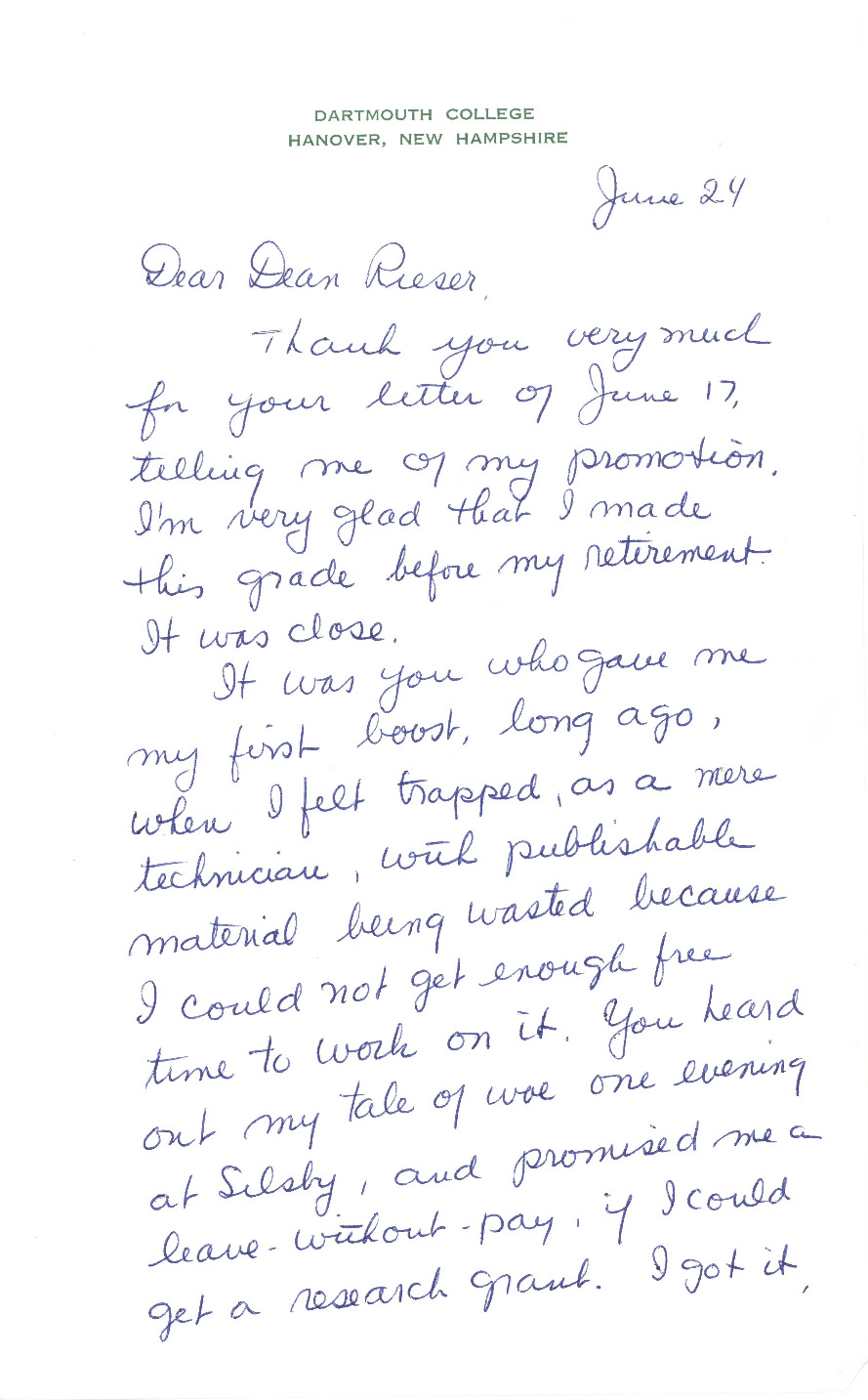 "Prof. Croasdale writes Rieser to thank him for her recent promotion from Assistant Professor with tenure to the rank of full Professor. She takes the time to acknowledge Rieser's role in her rise through the ranks throughout her Dartmouth career: ""It was you who gave me my first boost, long ago, when I felt trapped as a mere technician..."" The letter still contains her trademark biting and ironic humor, towards both the institution and herself: ""I'm very glad that I made this grade [full Professor] before my retirement. It was close... It's not what I'd call a brilliant career, but it's been fun most of the time, and I'm still going strong--I hope."""