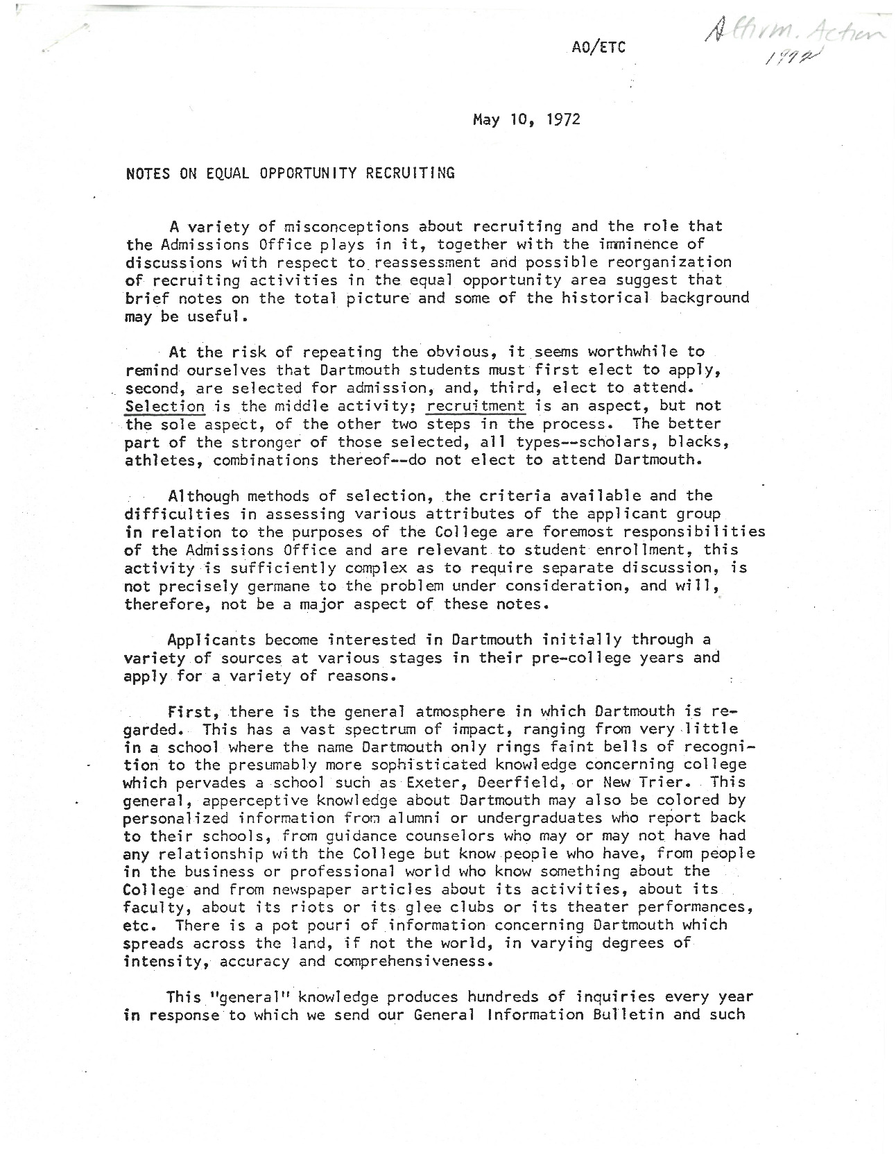 """Admissions Officer Edward T. Chamberlain's notes on equal opportunity recruitment include an appendix with the """"three term plan"""" by students in the Dartmouth Afro-American Society to encourage more Black students to apply to Dartmouth College. The self-appointed Black Student Application Encouragement Committee (BSAEC) outlines costs incurred by student recruiters and recruitment tactics in the form of on-site high school visits, mailed letters and informational packets to prospective students, conference attendance, and calls or meetings with Black students accepted to the College."""