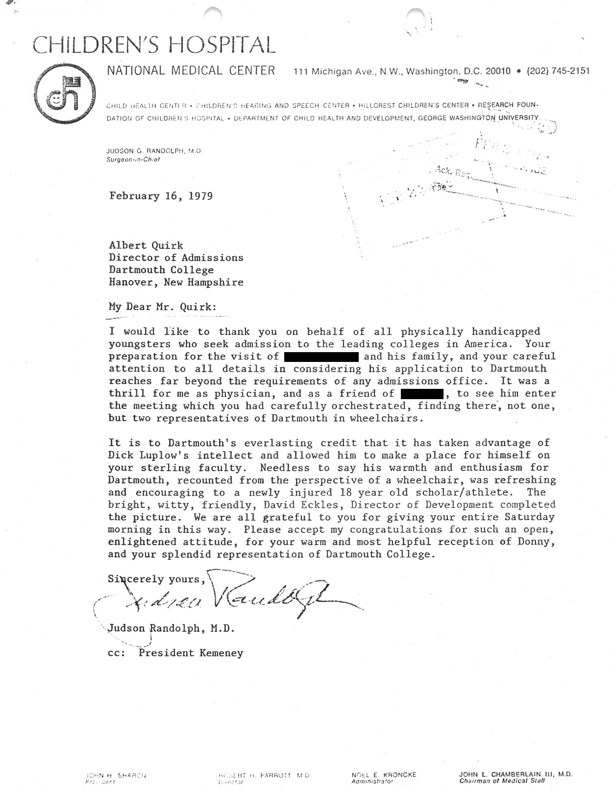 """A letter from the doctor of an admitted student to the Class of 1983 expressing delight """"to see him enter the meeting which [Dartmouth's Director of Admissions] had carefully orchestrated, finding there, not one, but two representatives of Dartmouth in wheelchairs."""" The Dartmouth representatives were Richard Luplow and David Eckels."""