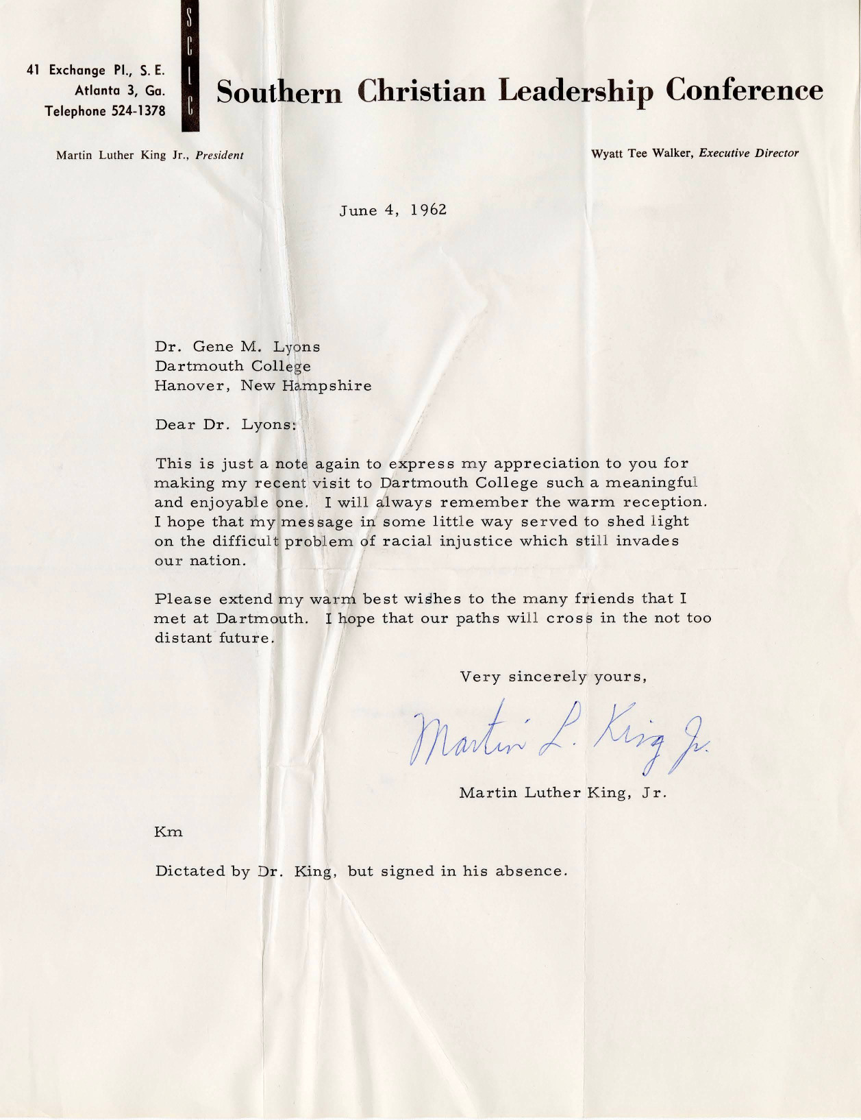 "In this letter to Dartmouth Professor Gene Lyons, Civil Rights leader Dr. Martin Luther King, Jr. expresses his appreciation for the warm welcome he received at Dartmouth and the hope that his lecture ""Towards Freedom"" shed ""light on the difficult problem of racial injustice."" Dr. King concludes by expressing his hopes that he will cross paths with Dr. Lyons in the future."