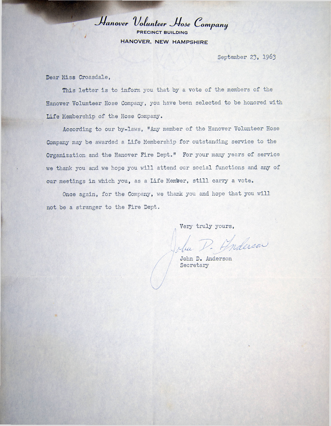 During the WWII labor shortage, Croasdale approached the Chief of the local Fire Department and convinced him to take her on as a volunteer. Despite the stir she caused because of her gender, she quickly proved herself invaluable to the department. Croasdale's home burned down in 1989, but this letter awarding her lifetime membership in the Hanover Volunteer Hose Company fittingly survived the blaze.