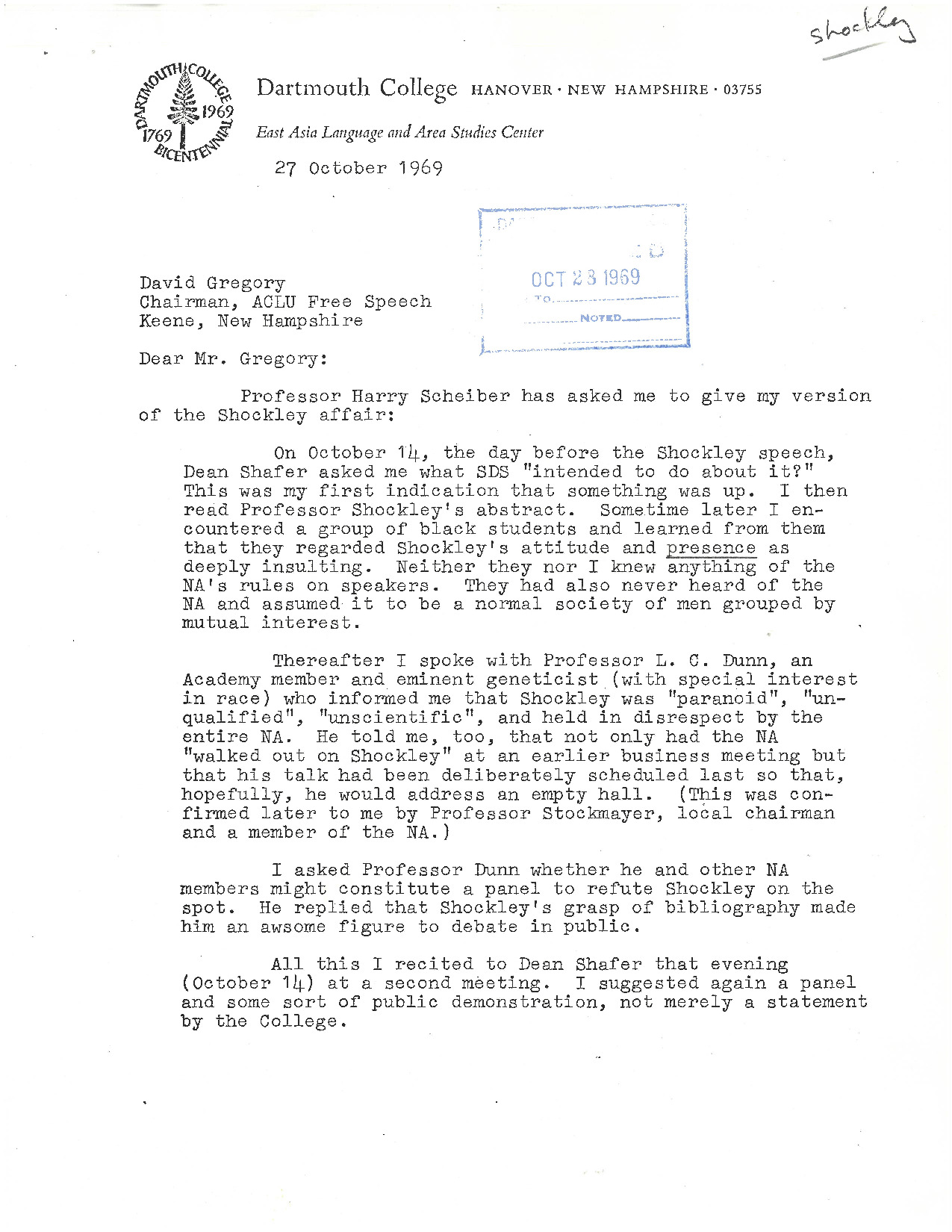"""Prof. Jonathan Mirsky gives his perspective of the Shockley Incident to David Gregory, American Civil Liberties Union's Chairman on Free Speech. He explains that the National Academy themselves viewed Shockley with disdain and that """"his talk had been deliberately scheduled last so that, hopefully, he would address an empty hall."""" Mirsky concludes his letter with his overall assessment and opinion """"that by merely clapping, the blacks showed moderation [while] [t]he whites displayed inertia, insensitivity and perhaps a bit of cowardice."""""""
