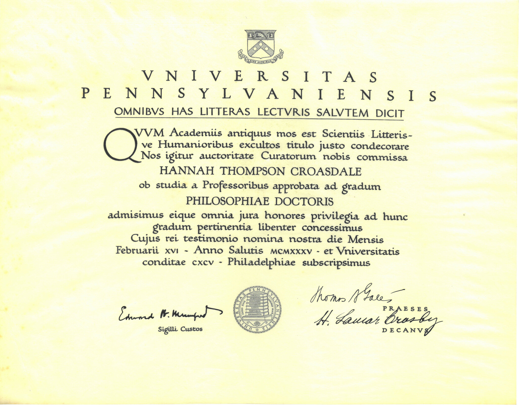 Hannah Croasdale's doctorate degree from the University of Pennsylvania, awarded in 1935.