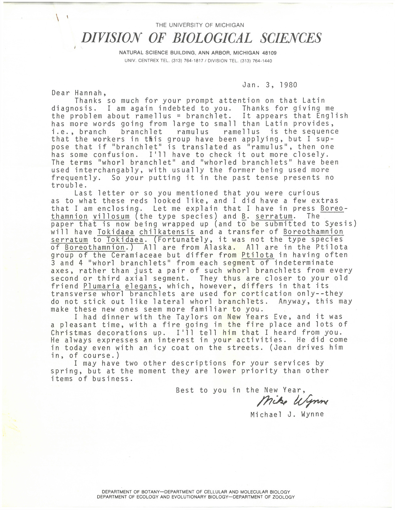 """A letter from Michael Wynne of the University of Michigan writes to Prof. Croasdale thanking her for her assistance with naming a specimen using scientific Latin, a language that Croasdale had taught herself. He encloses some of his samples for her reference, and concludes with remarks about a mutual friend who """"always expresses an interest in your activities."""" This letter serves as an excellent example that Croasdale was well-known domestically in the field of phycology and naming in scientific Latin."""