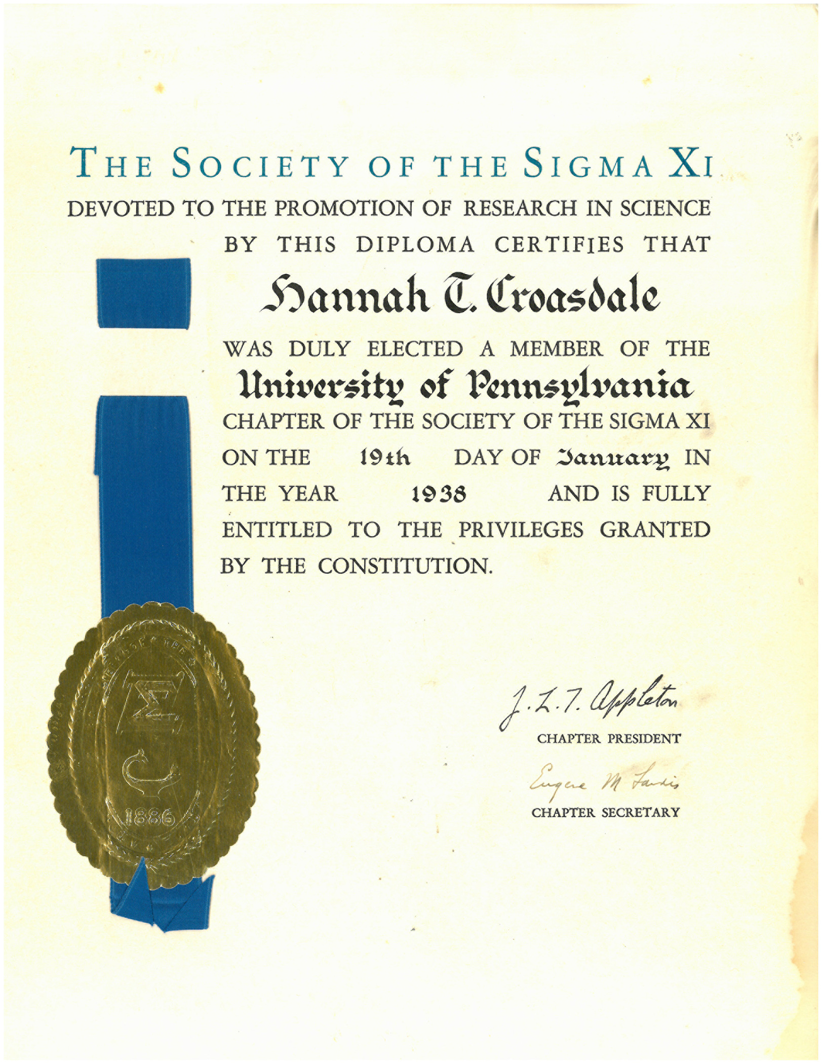 A certificate acknowledging Croasdale's admittance to the University of Pennsylvania chapter of the Society of the Sigma Xi. Her Ph.D. thesis, The Freshwater Algae of Woods Hole, Mass, was awarded the Sigma Xi Prize.