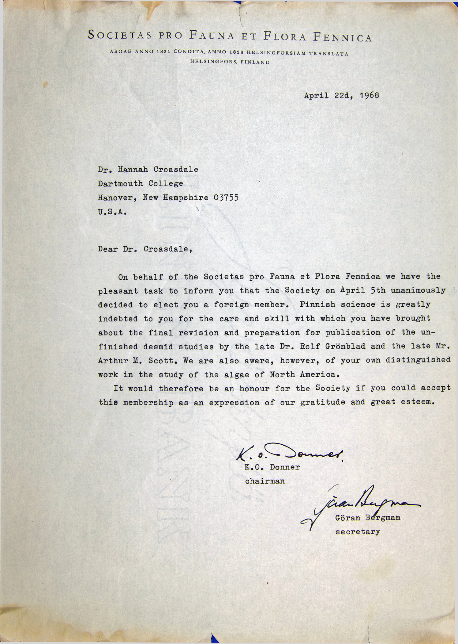 A letter from K.O. Donner and Göran Bergman of the Societas pro Fauna et Flora Fennica informing Prof. Croasdale that she has been unanimously elected a foreign member of the organization as of April 5, 1968.