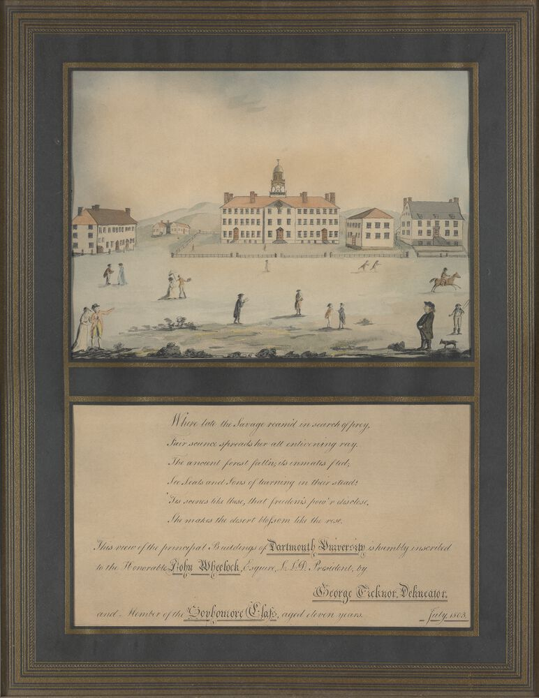 Painted by George Ticknor when he was eleven years old, this is one of the earliest depictions of Dartmouth.