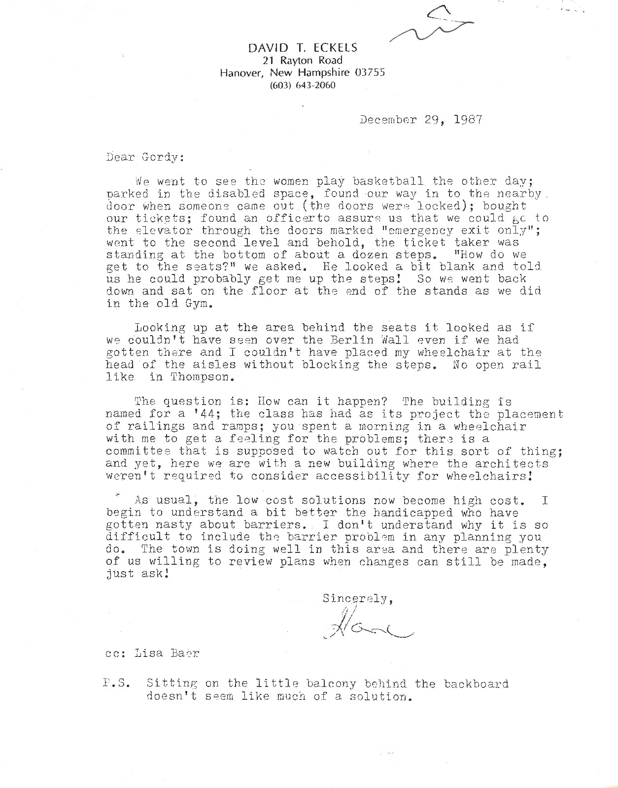A letter from Eckels to Gordon DeWitt, recounting his negative experience attending a Women's Basketball game on campus due to accessibility issues.