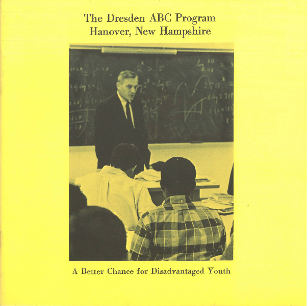 """This pamphlet features eight high school students from historically underrepresented or disadvantaged backgrounds that attended Hanover High School in 1964 as members of the ABC (A Better Chance) Project, meant to diversify the pool of students enrolled in competitive preparatory schools and ultimately universities. Although the author asserts that ABC participants are similar to their peers at Hanover High, they emphasize the extra academic pressures that were undoubtedly placed upon ABC students, who were """"expected to work harder... than most of their contemporaries."""""""