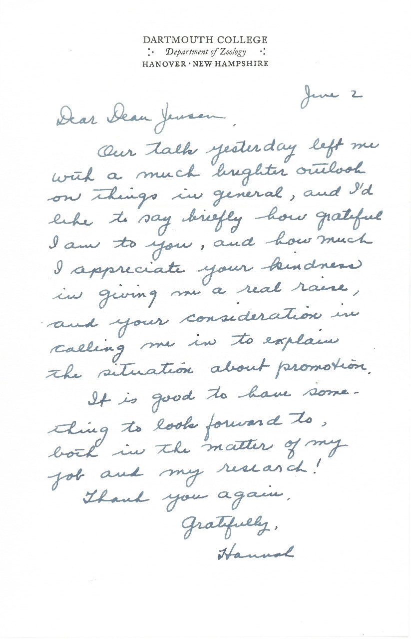 "Prof. Croasdale writes Arthur Jensen, Dean of the Faculty, to thank him for explaining the ""situation surrounding promotion"" and granting her a ""real raise."" This letter was likely written in 1959 and refers to a conversation regarding her ability to be promoted to a full Assistant Professorship from her position as Research Assistant."