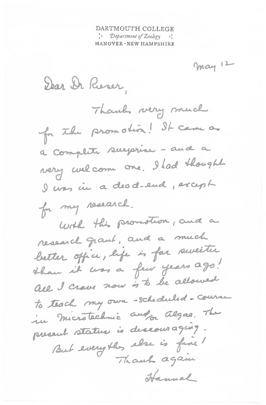 "In this letter, likely from 1961, Prof. Croasdale writes Rieser to thank him for her recent promotion. Her claims that the promotion came as a complete surprise seems to suggest that she was largely unaware of the Croasdale Memos. She is brutally honest about her situation when she tells Rieser: ""I thought I was in a dead-end, except for my research... life is far sweeter than it was four years ago!"""
