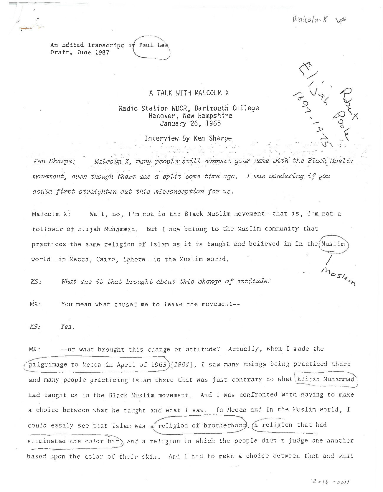 An edited transcript of Ken Sharpe's WDCR interview with Malcolm X on January 26, 1965.