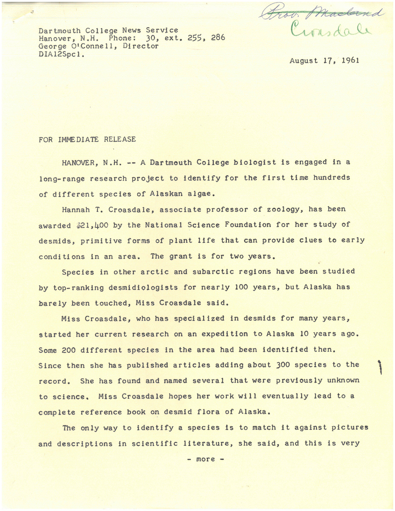 """Press release announcing that Croasdale had received a National Science Foundation grant to identify hundreds of species of Alaskan algae for the first time. At the time only a Research Assistant with rank of Assistant Professor, Croasdale was promised leave without pay by Leonard Rieser if she was able to procure this grant. Seven years later, Croasdale would remark that """"everything has gone pretty well since [getting the grant]."""""""