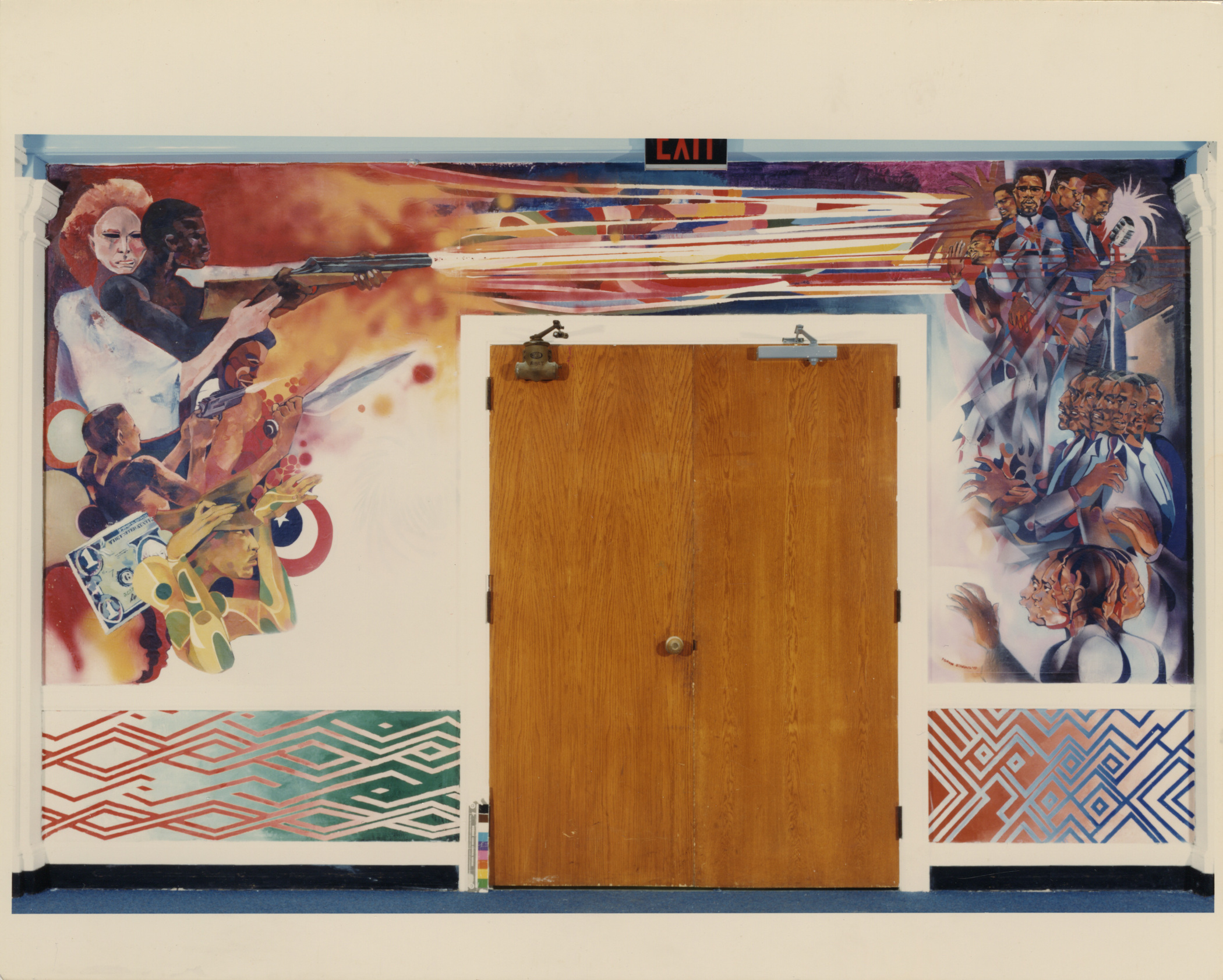 "The fourth panel painted The Temple Murals series, ""The Assassination,"" greets viewers as they step into the central lounge inside the Shabazz Center at Dartmouth. The panel depicts the turmoil and shock amid Malcolm X's assassination, beginning a few seconds before he was shot at a rally (only three weeks after visiting Dartmouth). On the right side of the doorway two bodyguards gaze across the rally crowd toward the murderer, who is guided by the only distinctly white figure in the painting."