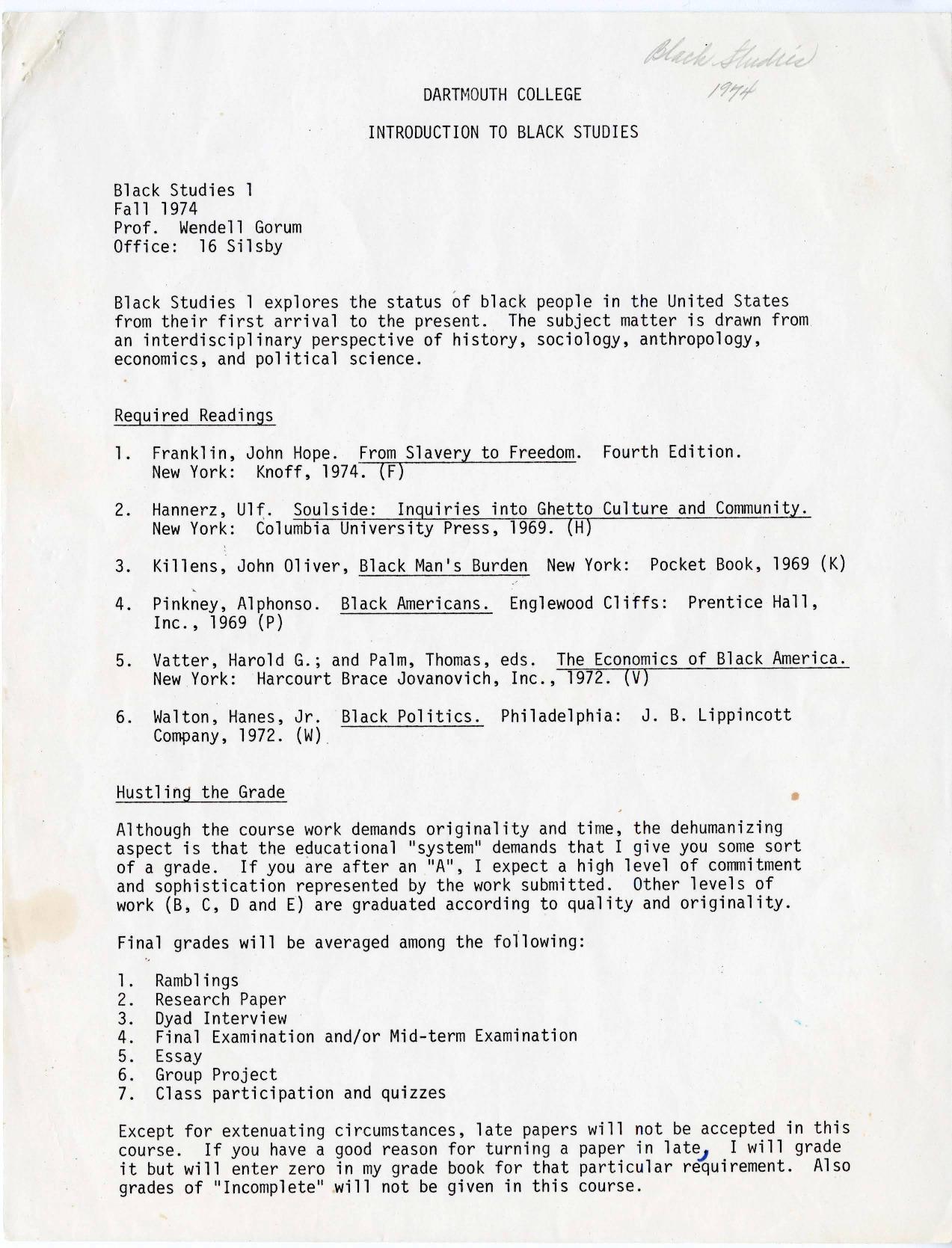 Black Studies 1 syllabus, Fall 1974