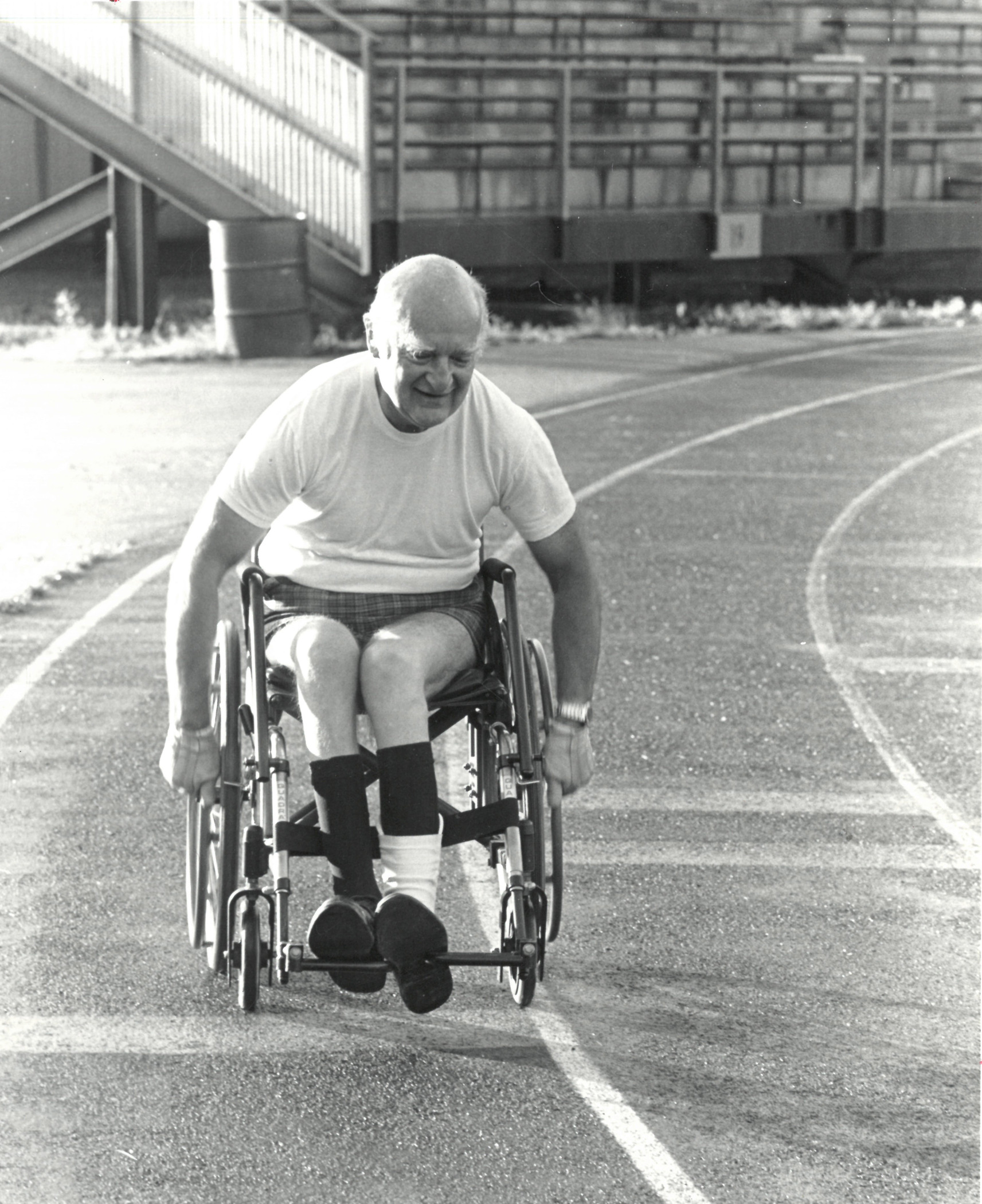 David Eckels photographed on Memorial Track Field for the Dec. 1985 issue of the Dartmouth Alumni Magazine.