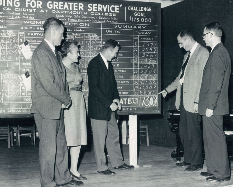 """A representative of the """"women's section"""" of a Church of Christ at Dartmouth College fundraiser, Mrs. Joseph Joiner,  stands with colleagues in front of a large sign illustrating total funds raised. Pictured with Mrs. Joiner are (from left to right) John Stebbins, men's section chairman, Dr. John Milue, leadership gifts committee chairman, Dean Thaddeus Seymour, general chairman of campaign, and the Rev. Leonard Clough, Minster."""