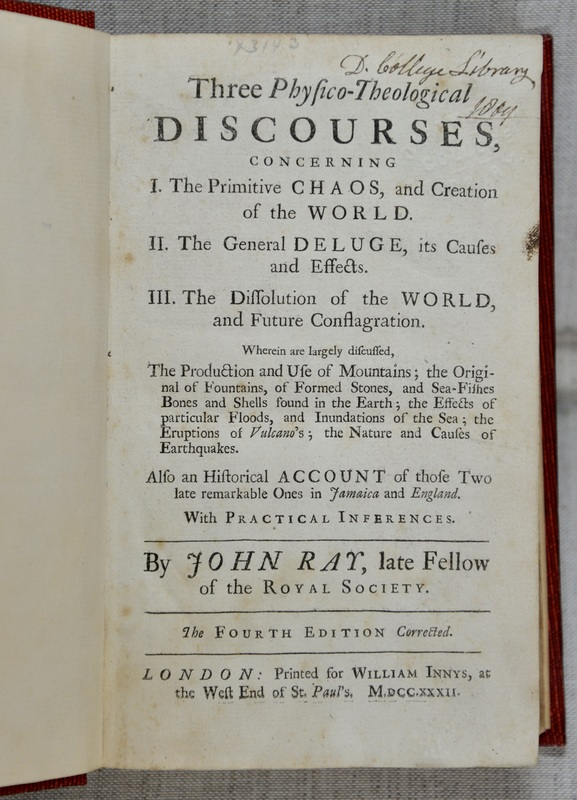 In this book, English naturalist John Ray elaborates on beliefs about the Great Flood from the Bible's Book of Genesis, during which God decides to reverse and redo creation by returning Earth to a state of watery chaos. While many 18th century natural historians and theologians used discovery of fossils (such as seashells in the Alps) as evidence of a global-scale flood, they did not see them as evidence of extinction. For many people during this time period, the idea of extinction was religiously troubling; it would suggest some flaw with God's divine plan at the beginning of the world. Additionally, belief that all life on Earth forms a Great Chain of Being—from ocean slime to angels—would make extinctions problematic breaks in its links.