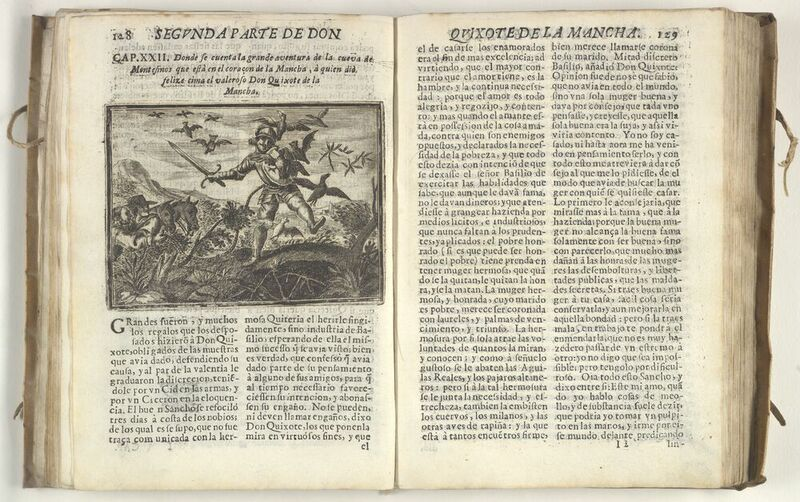 Engraving depicting Don Quixote's descent into the Cave of Montesinos.