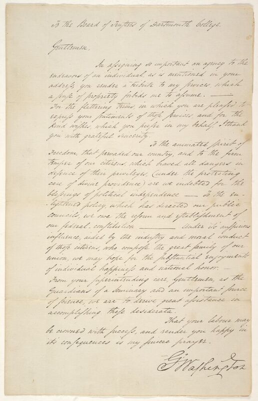 George Washington responding to a letter of congratulations sent to him by the Trustees of Dartmouth College on his inauguration. We do not know how the letter came to be in George Ticknor's collection.