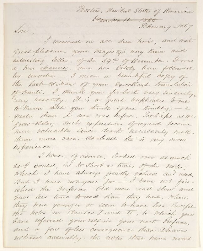 George Ticknor corresponded with teh literati of Europe. Here he discusses translations of Dante with King Johann of Saxony