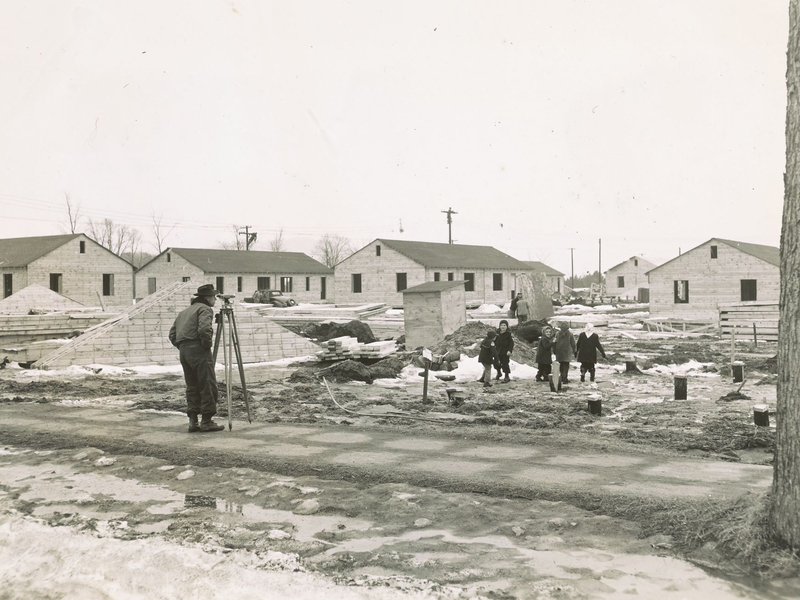 Construction of FHA approved temporary houses at Sachem Village for married veteran undergraduates.