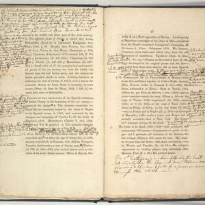 Based on academic lectures delivered to students at Harvard, the Syllabus later informs the History of Spanish Literature, published in 1849.  This copy was heavily annotated by one of Ticknor's students in October 1831.