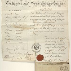 """Ticknor's passport used on his last European trip, issued April 22, 1856. We learn from his passport that Ticknor stood 5'8"""" and had hazel eyes. Having already spent seven years of his life in Europe, he was less enthusiastic about this trip. """"As I travel about in places more or less familiar to me … I feel a good deal as a professor emeritus does, who keeps the title, but does none of the work of his place. I call myself a traveler, but fulfill little of a traveler's duty."""""""