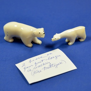 These walrus ivory carvings owned by Alex Magtoya were produced by native Inupiat people of the Arctic Ocean and Bering Sea regions. Indigenous communities of the Arctic have hunted walrus (among other sea mammals including seals and whales) as sources of food for hundreds of years, utilizing their skins, bones, and tusks for clothing, tools, and crafts. Walrus populations plummeted around the Arctic by the early 20th-century following the arrival of Europeans, only to rebound when limits were placed on commercial hunts. Today, walruses, polar bears, and many other Arctic animals face an even-deadlier threat - global climate change.